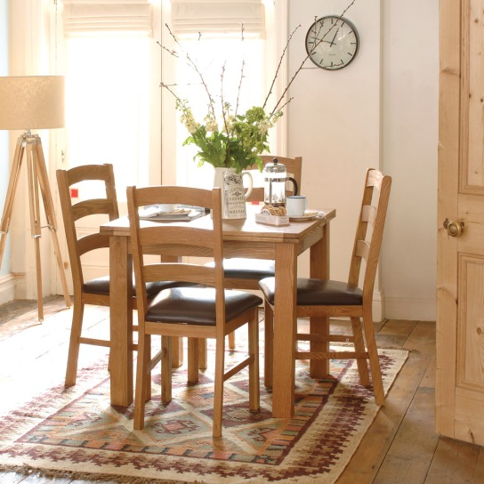 Salisbury Petite Oak 85cm-170cm Square Extending Dining Table